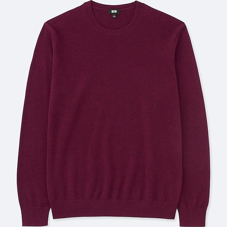 MEN CASHMERE CREW NECK LONG-SLEEVE SWEATER, WINE, large