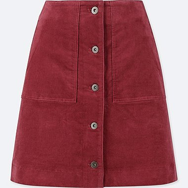 WOMEN CORDUROY FRONT BUTTON HIGH-WAIST MINI SKIRT, WINE, medium