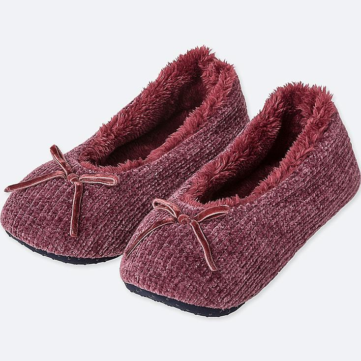 WOMEN CHENILLE BALLET SLIPPERS, WINE, large