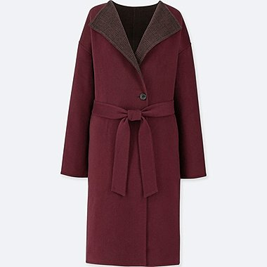 WOMEN DOUBLE FACE COLLARLESS COAT, WINE, medium