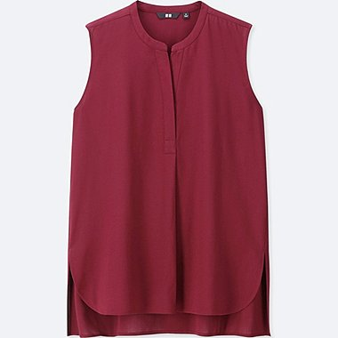 WOMEN RAYON SLEEVELESS BLOUSE, WINE, medium