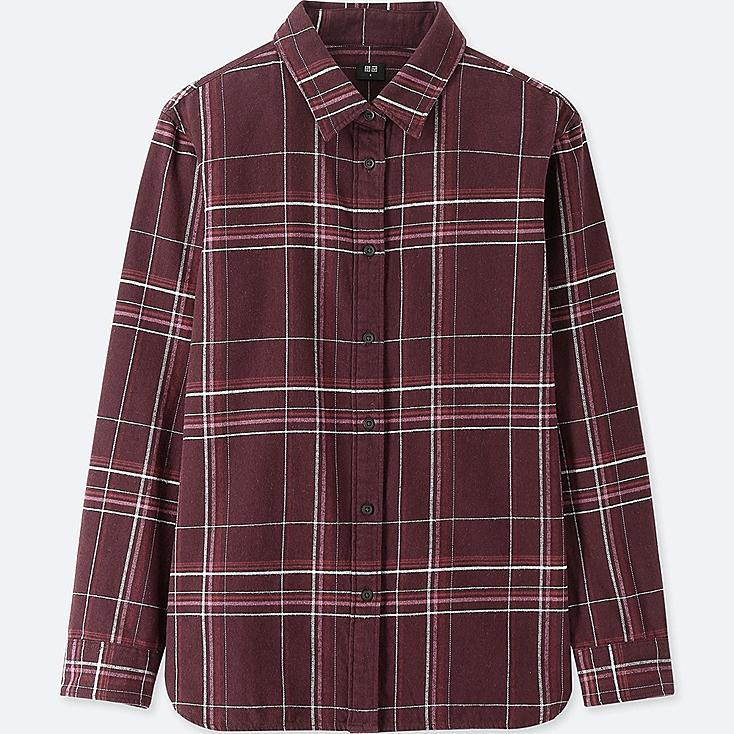 WOMEN FLANNEL CHECKED LONG-SLEEVE SHIRT, WINE, large