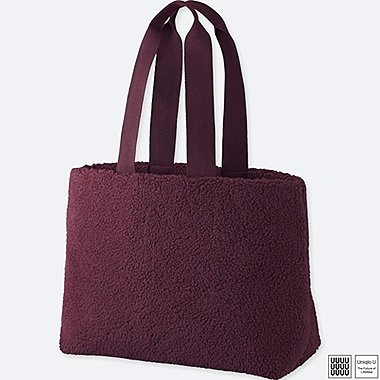U FLEECE TOTE BAG, WINE, medium