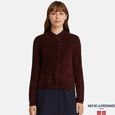 WOMEN POINTELLE CARDIGAN (INES DE LA FRESSANGE), WINE, medium