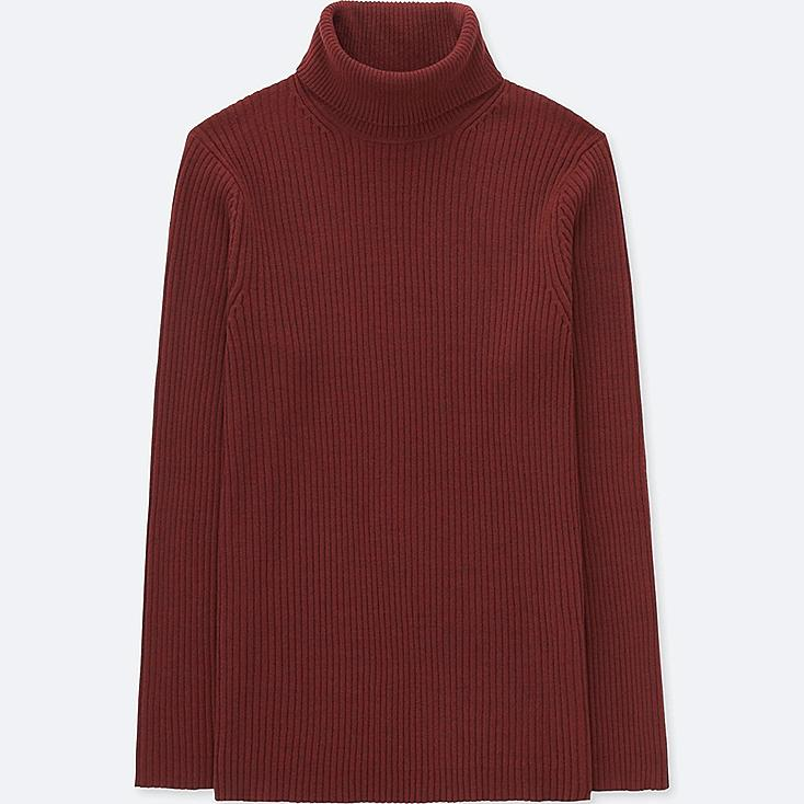 MEN RIBBED TURTLENECK LONG-SLEEVE SWEATER (ONLINE EXCLUSIVE), WINE, large