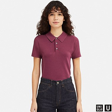 WOMEN U KNITTED SHORT-SLEEVE POLO SHIRT, WINE, medium