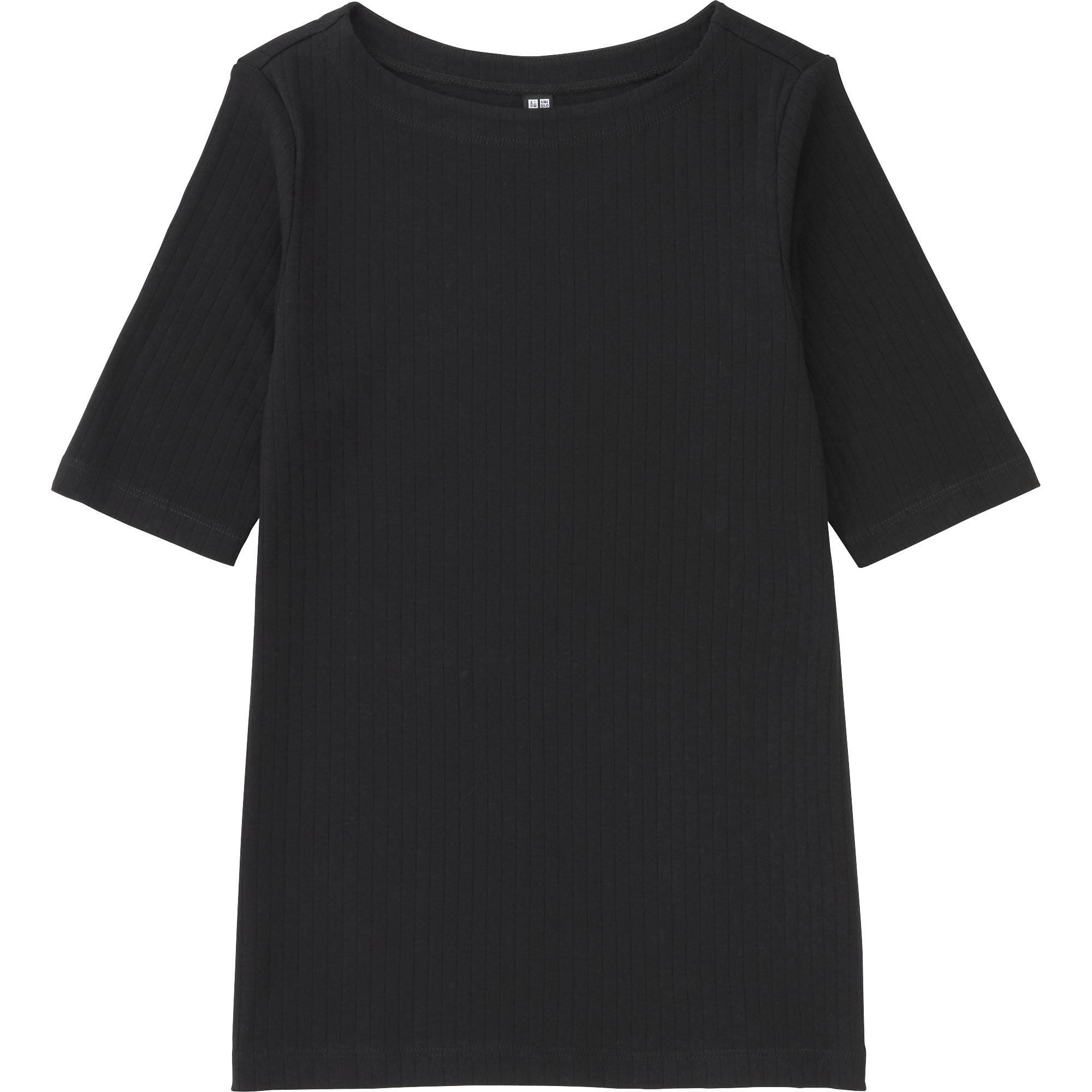Black t shirt womens - Women Ribbed Boat Neck Half Sleeve T Shirt Black Small