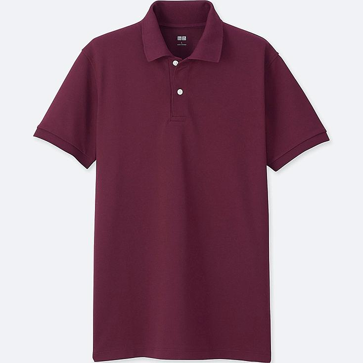 Men DRY PIQUE SHORT SLEEVE POLO SHIRT, WINE, large