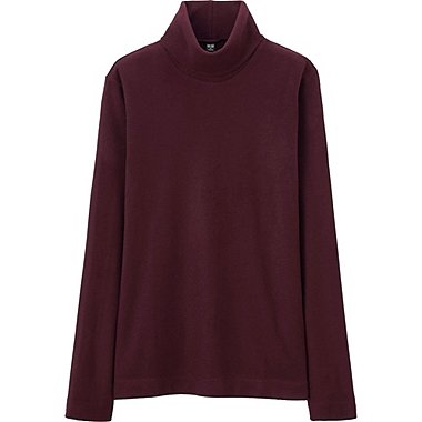 WOMEN HEATTECH FLEECE TURTLE NECK LONG SLEEVE T, WINE, medium