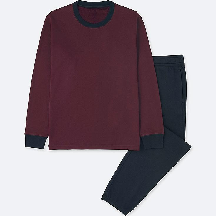 MEN PILE LINED SWEAT SET (LONG SLEEVE), WINE, large