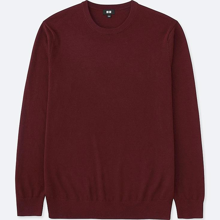 MEN EXTRA FINE MERINO CREWNECK SWEATER, WINE, large