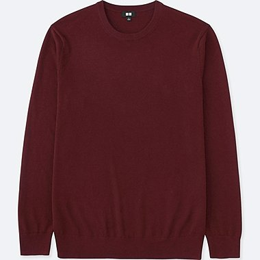 MEN EXTRA FINE MERINO CREWNECK SWEATER, WINE, medium