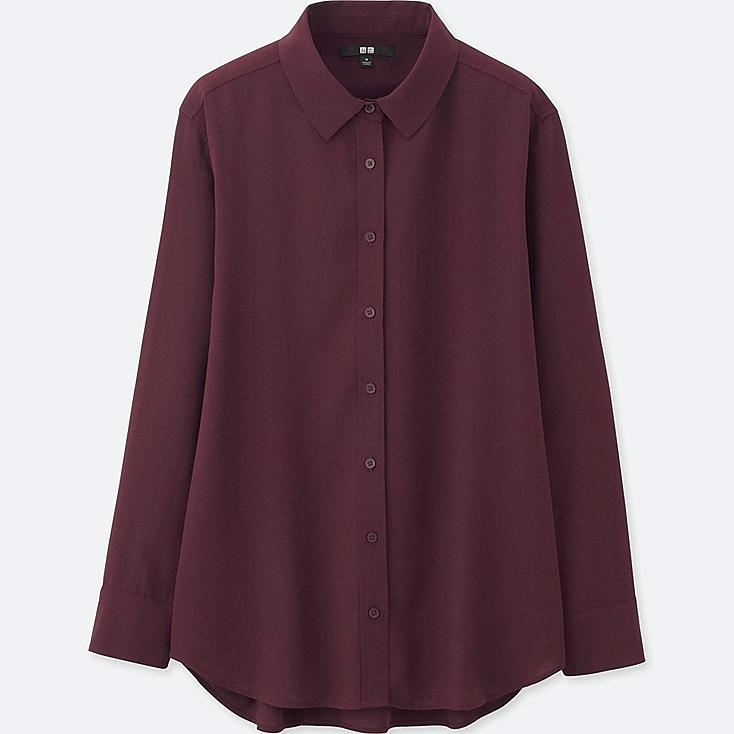 WOMEN RAYON LONG SLEEVE BLOUSE, WINE, large