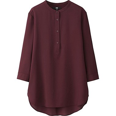 WOMEN EASY CARE Silk Touch Stand Collar 3/4 Sleeve Blouse