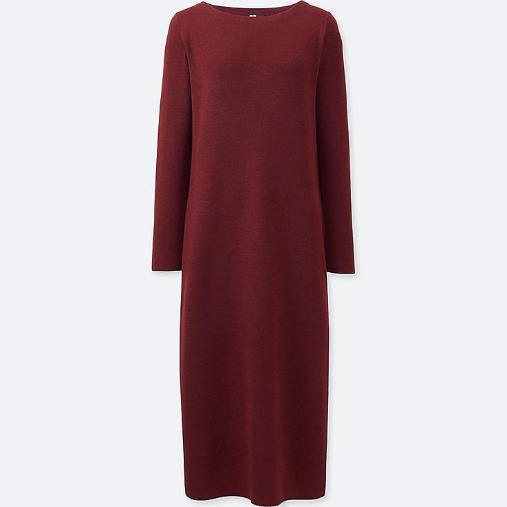 WOMEN KNIT COLUMN LONG SLEEVE DRESS, WINE, large