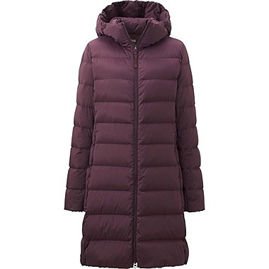 WOMEN ULTRA LIGHT DOWN STRETCH HOODED COAT, WINE, medium