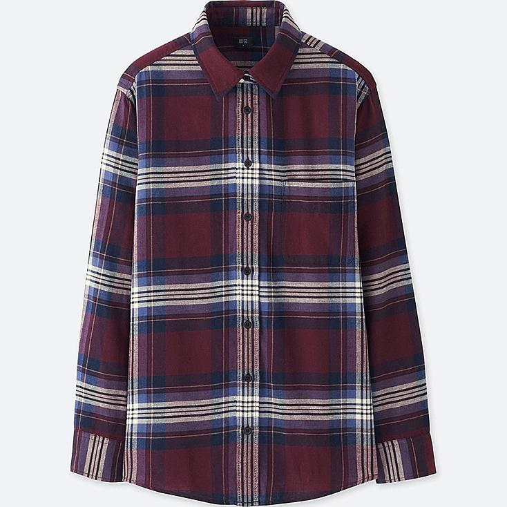 WOMEN FLANNEL CHECK LONG SLEEVE SHIRT, WINE, large