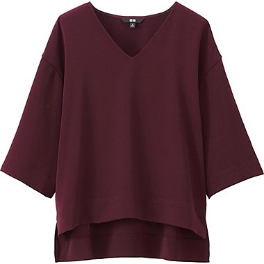 WOMEN Drape Half Sleeve V Neck Blouse