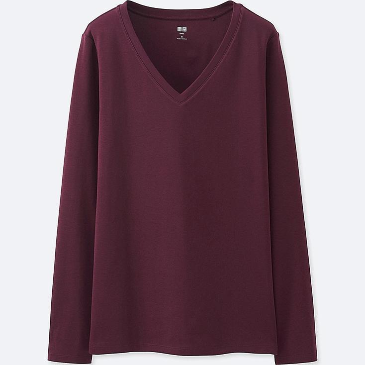 Women Supima® Cotton V Neck Long Sleeve T-Shirt, WINE, large