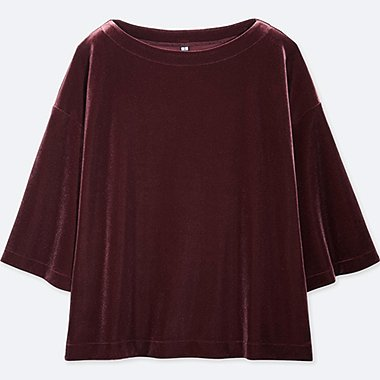 WOMEN VELOUR HALF SLEEVE PULLOVER
