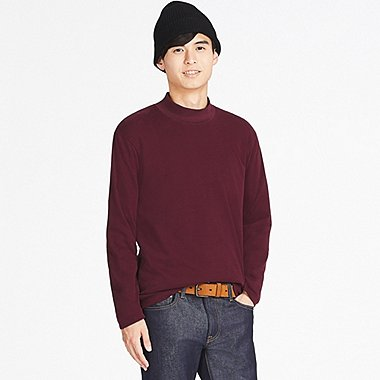 MEN SOFT TOUCH MOCK NECK LONG-SLEEVE T-SHIRT (ONLINE EXCLUSIVE), WINE, medium