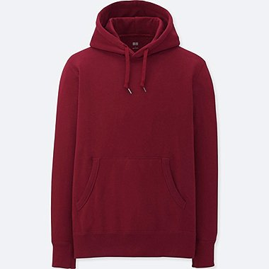MEN LONG-SLEEVE SWEAT PULLOVER HOODIE, WINE, medium