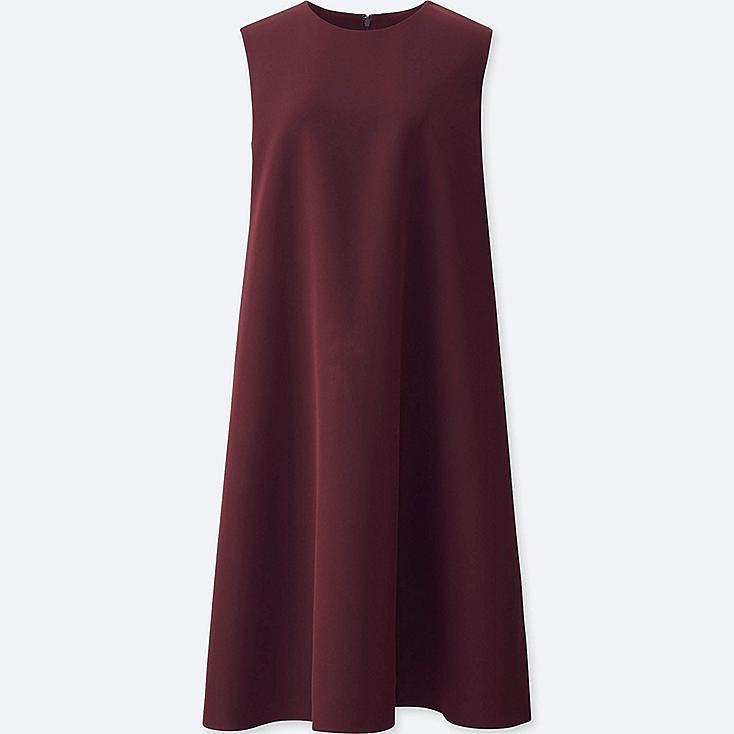 WOMEN DRAPE A-LINE SLEEVELESS DRESS, WINE, large