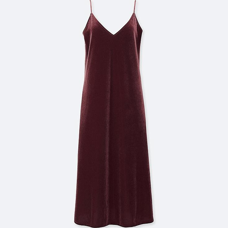 WOMEN VELOUR CAMISOLE DRESS, WINE, large