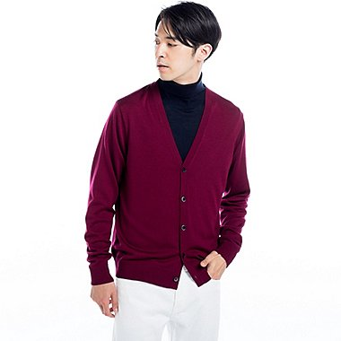 MEN EXTRA FINE MERINO V-NECK CARDIGAN, WINE, medium