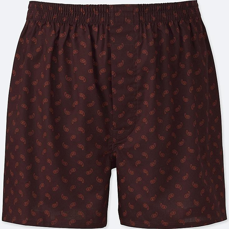 MEN WOVEN PRINTED BOXERS, WINE, large