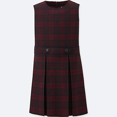 GIRLS CHECKED JUMPER SKIRT (ONLINE EXCLUSIVE), WINE, medium