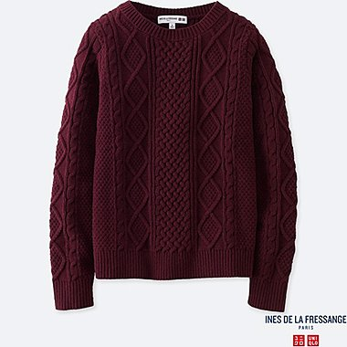 WOMEN IDLF CABLE CREWNECK SWEATER, WINE, medium