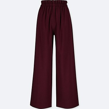 WOMEN HIGH-WAIST GATHERED WIDE-LEG PANTS, WINE, medium