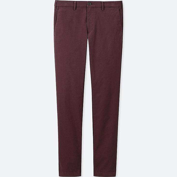 MEN SLIM-FIT CHINO FLAT-FRONT PANTS, WINE, large