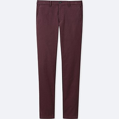 MEN SLIM-FIT CHINO FLAT-FRONT PANTS, WINE, medium