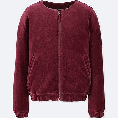 GIRLS VELOUR COLLARLESS BLOUSON JACKET
