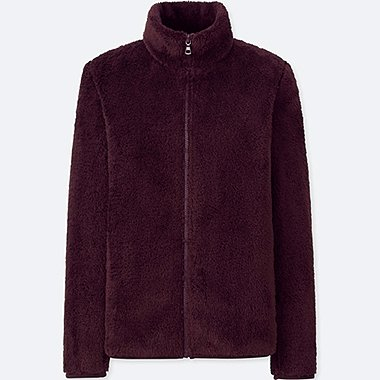 WOMEN FLUFFY YARN FLEECE FULL-ZIP JACKET, WINE, medium
