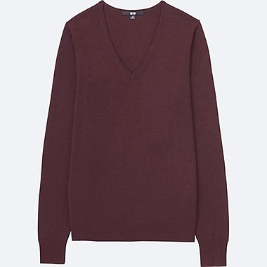 WOMEN EXTRA FINE MERINO V-NECK SWEATER, WINE, medium