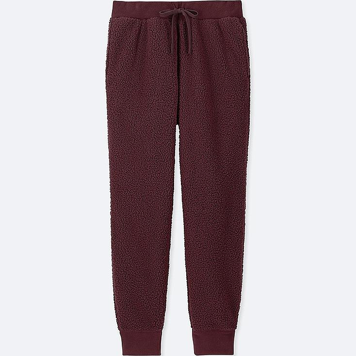 MEN FAUX SHEARLING FLEECE EASY PANTS, WINE, large
