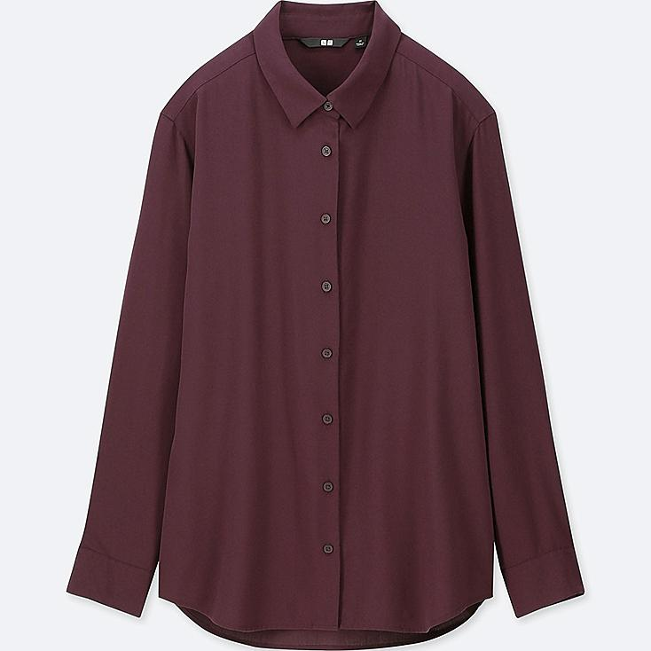 WOMEN RAYON LONG-SLEEVE BLOUSE, WINE, large