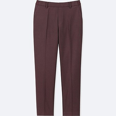 WOMEN SMART STYLE ANKLE-LENGTH PANTS, WINE, medium