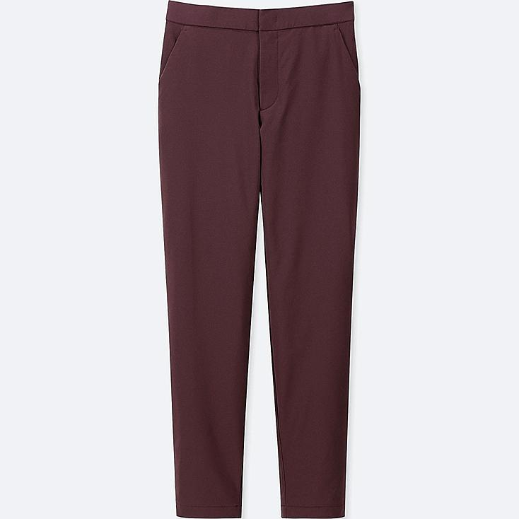 WOMEN WINDPROOF WARM-LINED PANTS, WINE, large