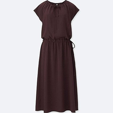 WOMEN DRAPE GATHERED SHORT SLEEVE DRESS