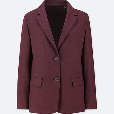 WOMEN WOOL-BLEND JACKET (ONLINE EXCLUSIVE), WINE, medium