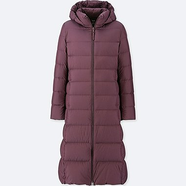 WOMEN ULTRA LIGHT DOWN LONG COAT, WINE, medium