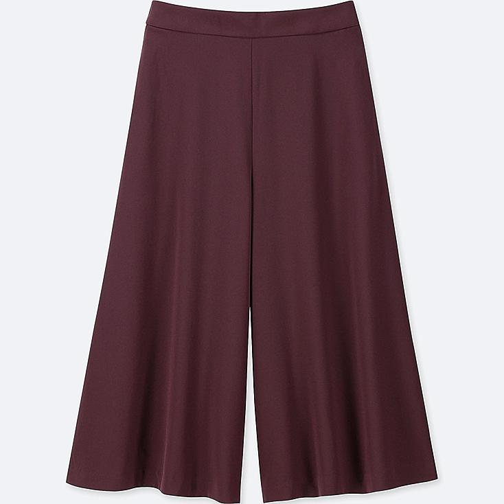WOMEN DRAPE WIDE CROPPED PANTS (ONLINE EXCLUSIVES), WINE, large