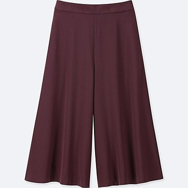 WOMEN DRAPE WIDE CROPPED PANTS, WINE, medium
