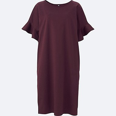 WOMEN MERCERIZED COTTON FRILL SHORT-SLEEVE DRESS, WINE, medium