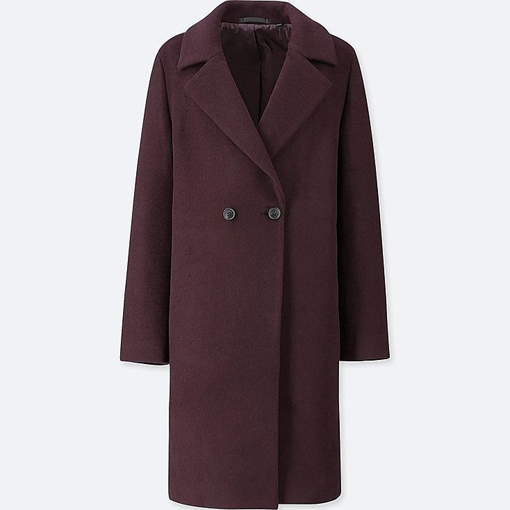 WOMEN LIGHTWEIGHT WOOL-BLEND TAILORED COAT, WINE, large