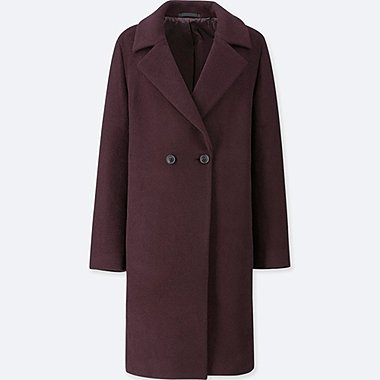 WOMEN LIGHTWEIGHT WOOL-BLEND TAILORED COAT, WINE, medium